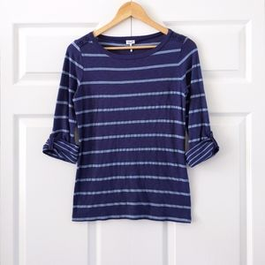 Splendid Blue Striped Roll Tab Sleeve Top | XS